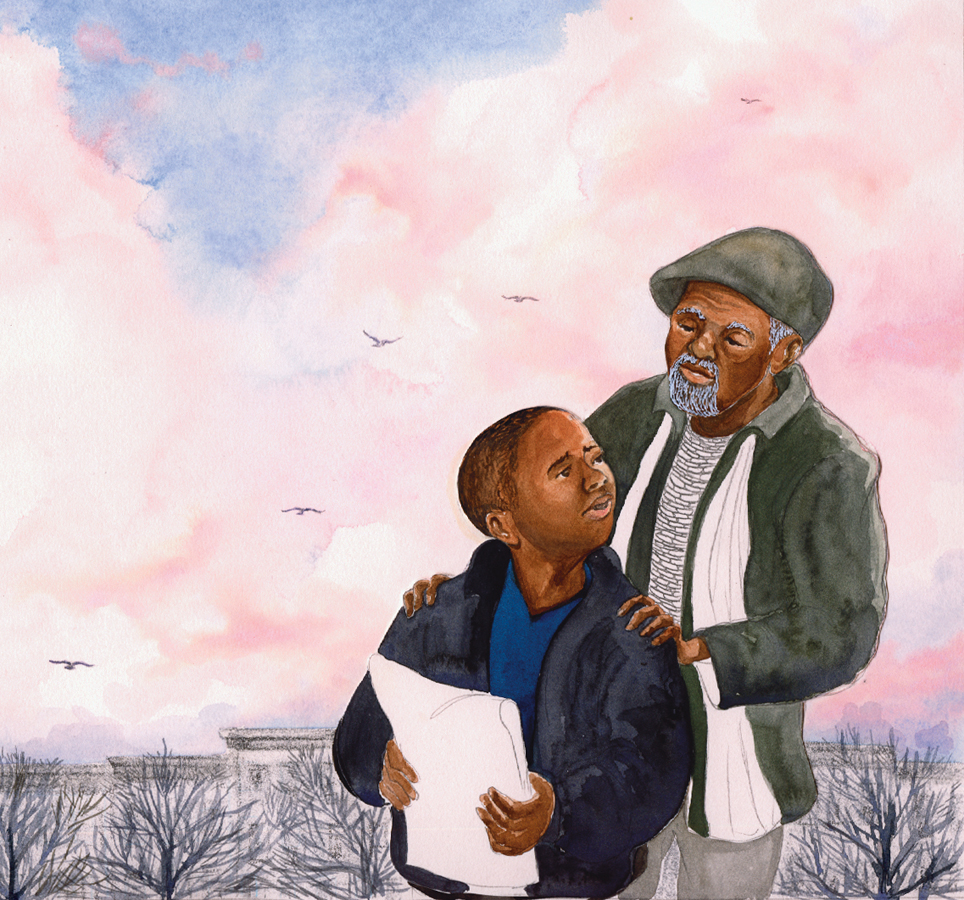"Illustration by Shadra Strickland from ""Bird,"" written by Zetta Elliott"