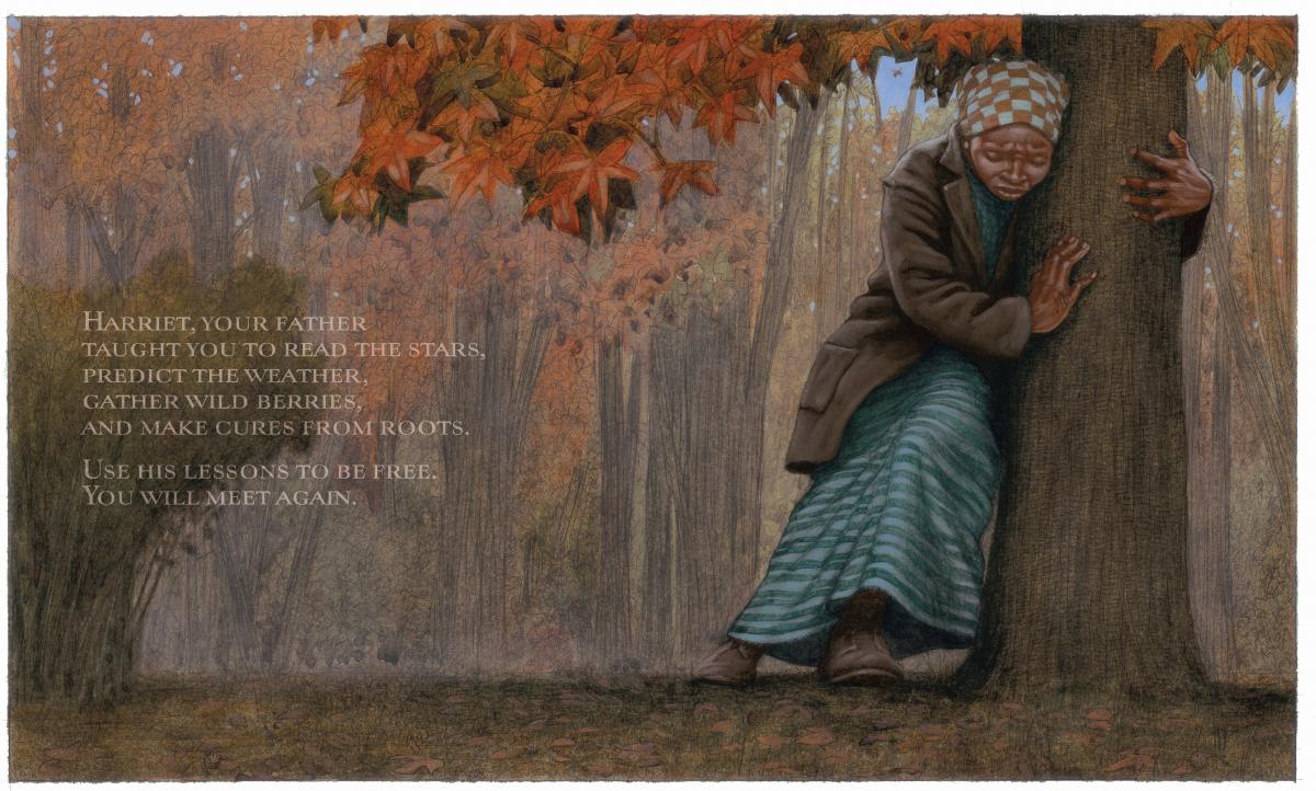 "Illustration by Kadir Nelson from ""Moses: When Harriet Tubman Led Her People to Freedom,"" written by Carole Boston Weatherford"