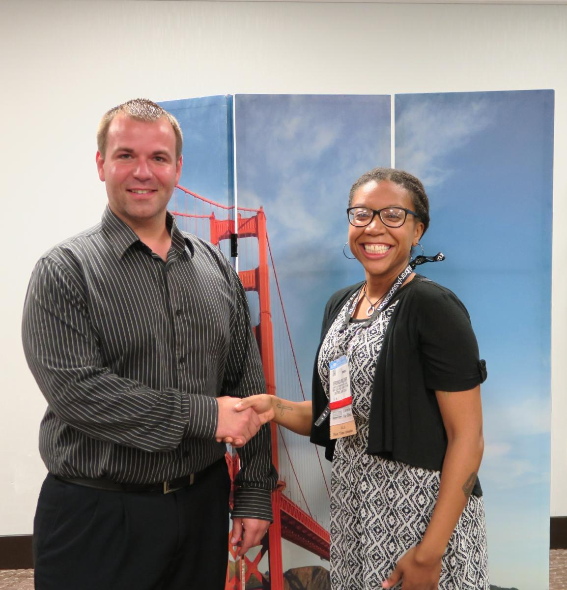 NMRT/Mango Languages Professional Development Grant Award Winner Veronica Leigh Milliner with Mango Languages rep. Robert Thayer