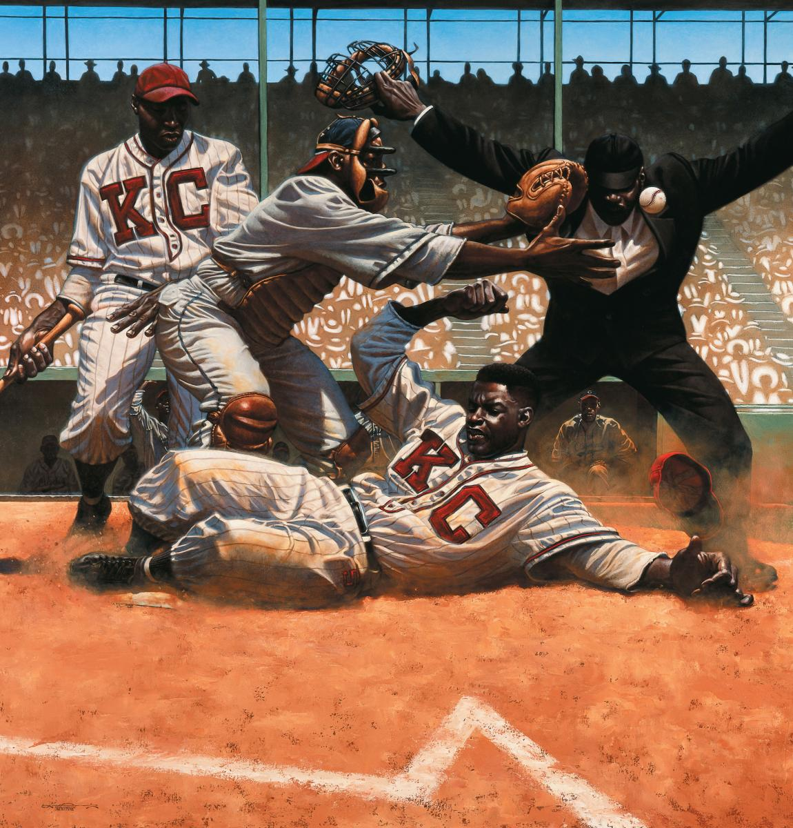 "Jackie Robinson, illustration from ""We Are The Ship,"" Written & Illustrated by Kadir Nelson"