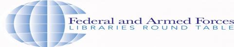 Federal and Armed Forces Libraries logo featuring a globe