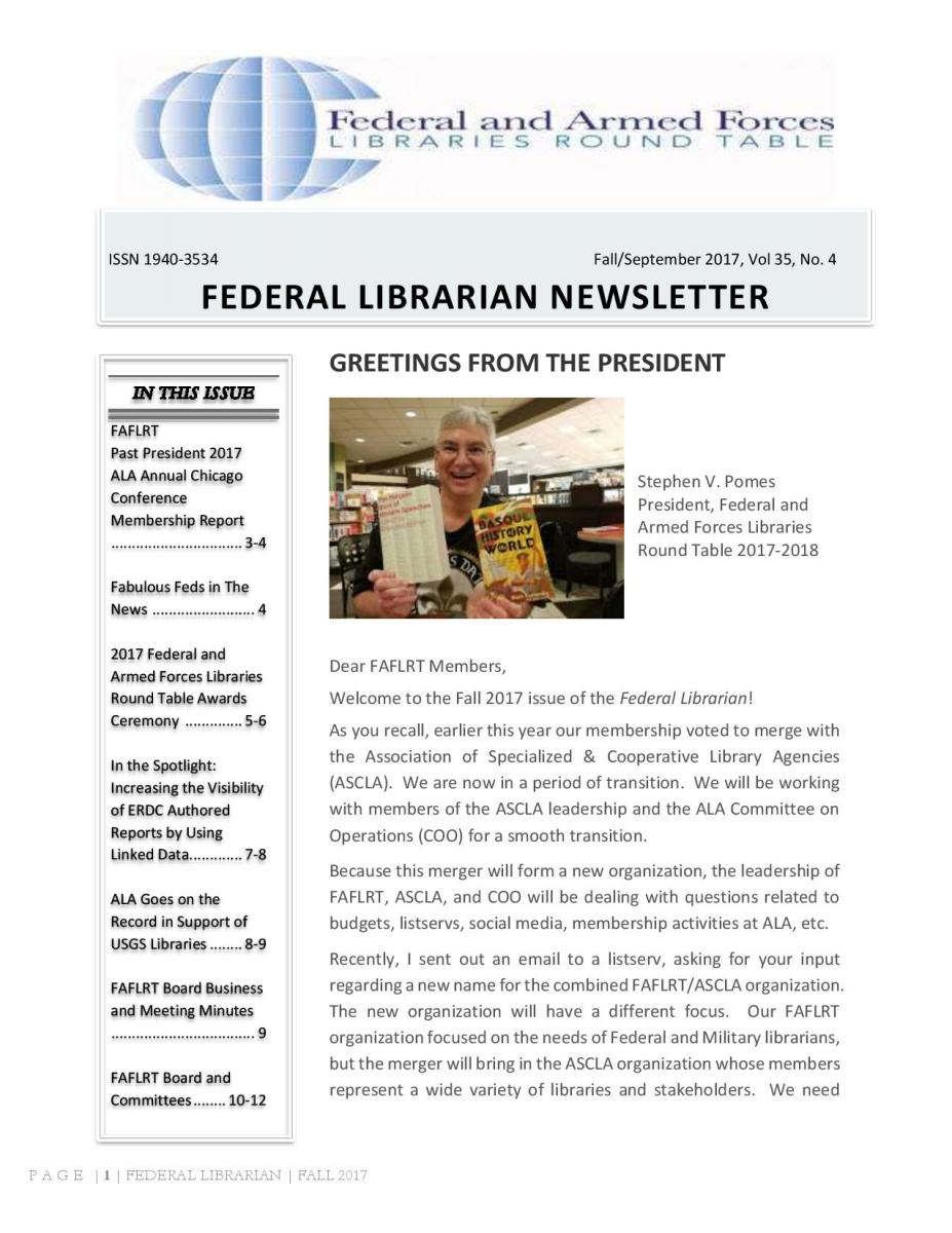 First Page of the FAFLRT newsletter for Summer 2017