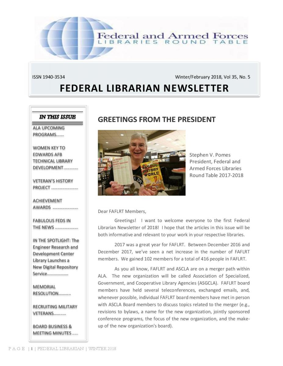 First Page of the FAFLRT newsletter for Winter 2018