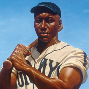 "Josh Gibson, illustration from ""We Are The Ship,"" written & illustrated by Kadir Nelson"