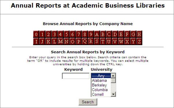 Search Screen for Annual Reports at Academic Business Libraries