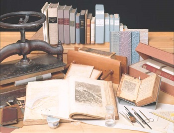Picture of book conservation craftsmanship, books, book presses, conservation tools, Library  Company of Philadelphia