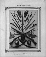 Picture of Ottoman weapons, scythes, scimitars, guns, swords, axes,  Abdul Hamid II Collection, Library of Congress