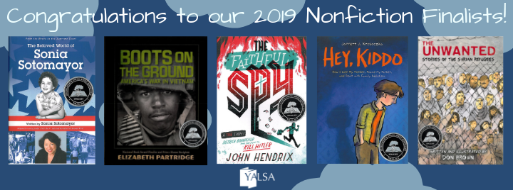 Image of books for 2018 YALSA nonfiction award finalists
