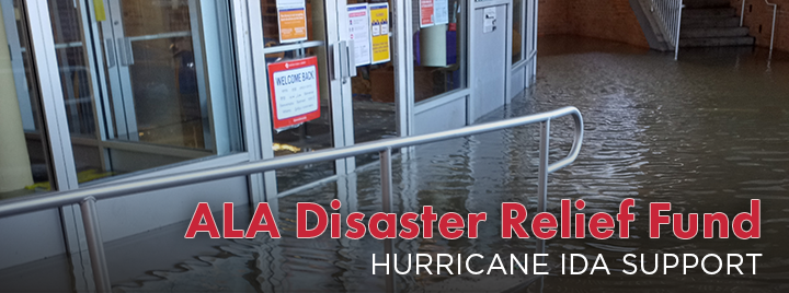 ALA Disaster Reief Fiund. Hurricane Ida support. Standing water outside the Lefrak City Library in New Jersey.