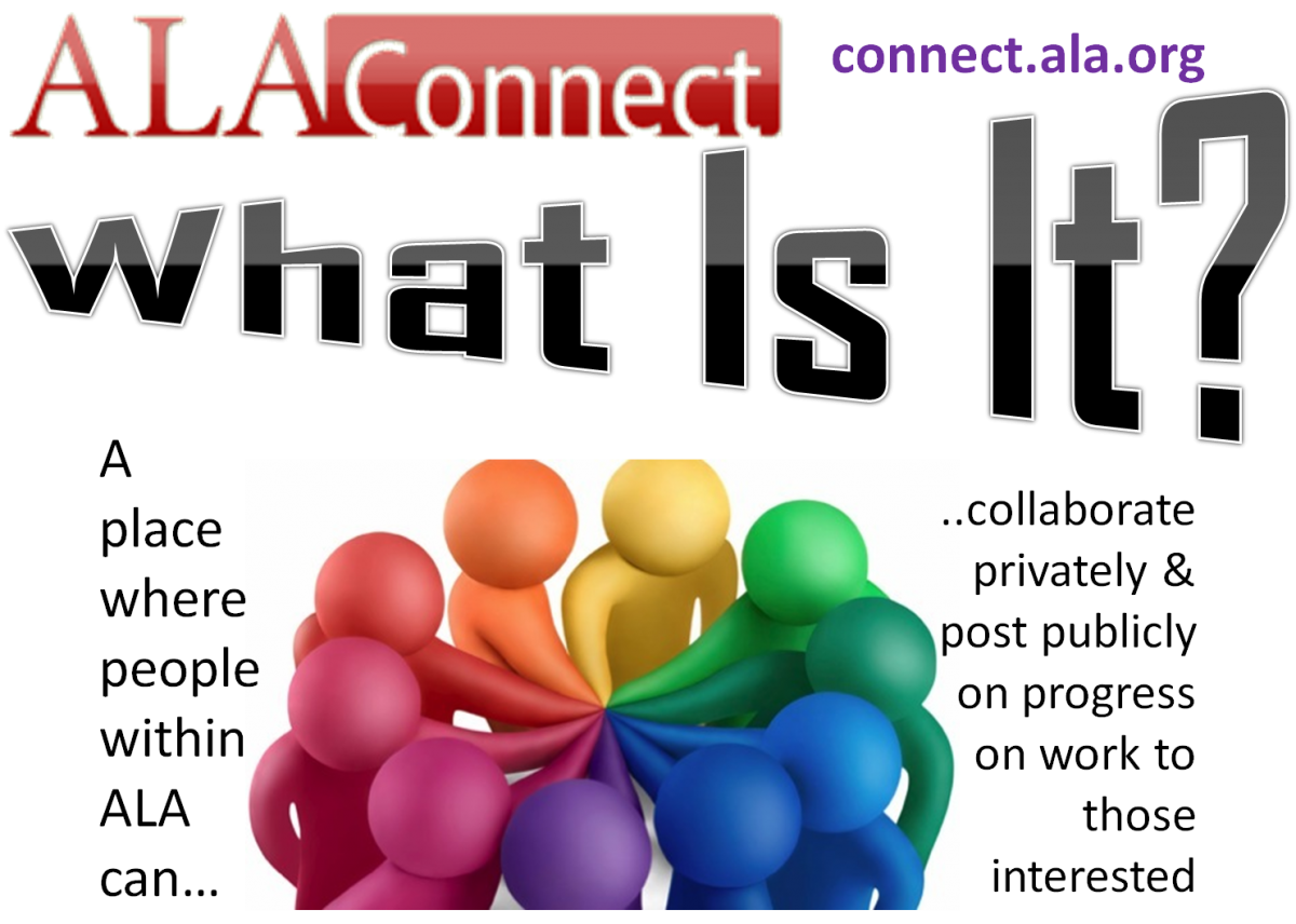 What is ALA Connect?  Think of it as a place where people within ALA can collaborate privately and post their progress publicly.