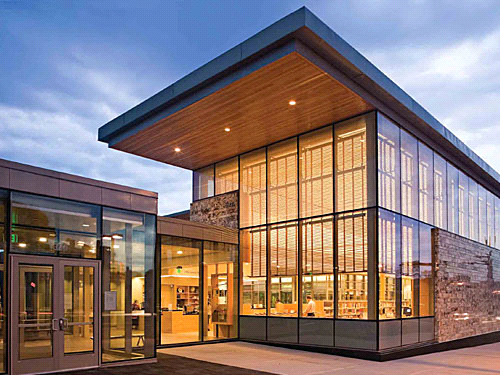 Library Exterior image used in the three examples on this page