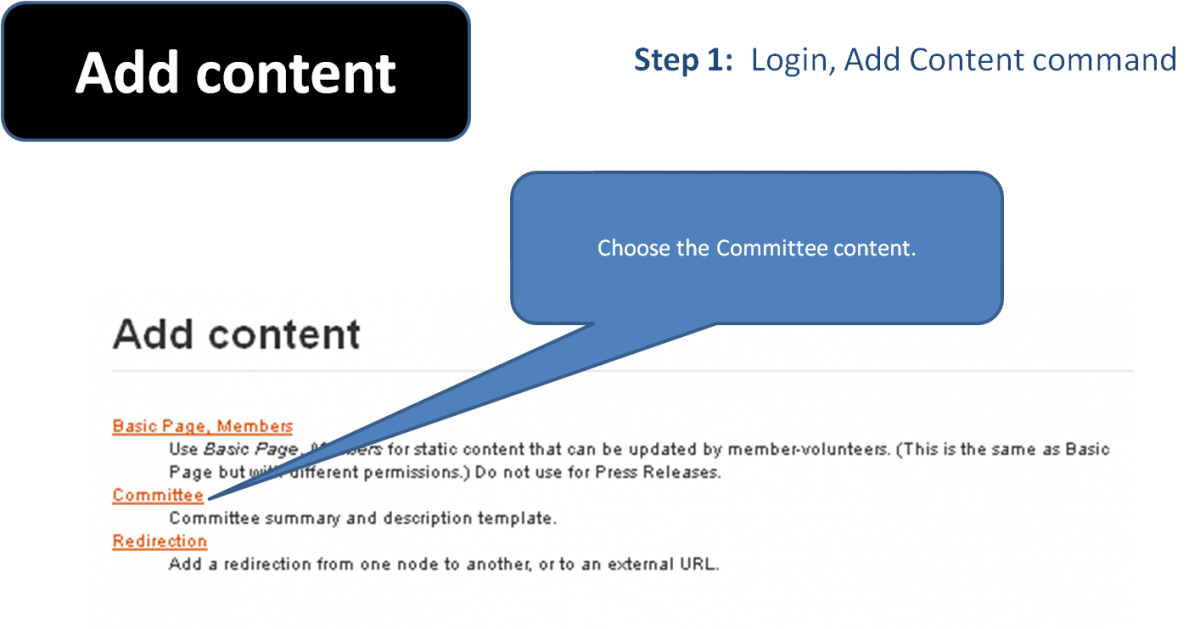 Screenshot of selection for Content editors to choose Committee content