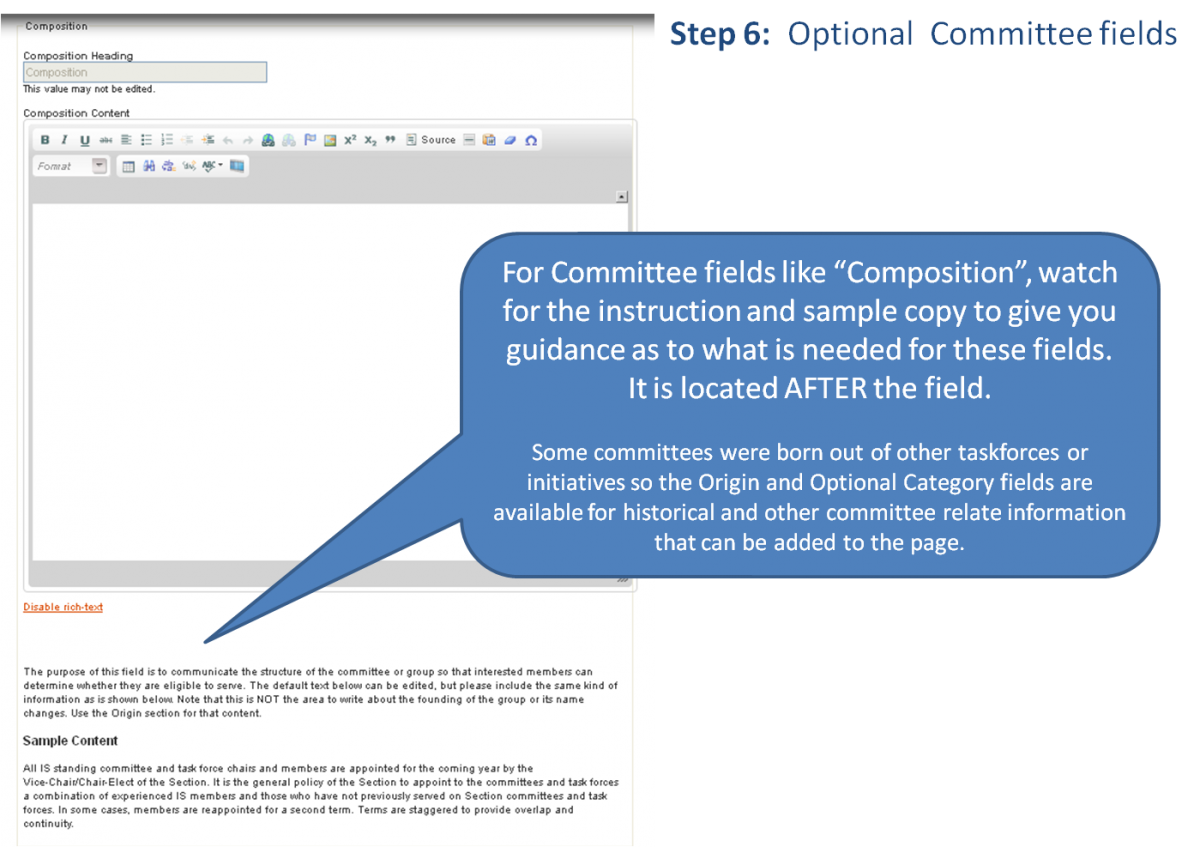 Screenshot of other optional fields with highlights of onscreen instruction on how to complete it.