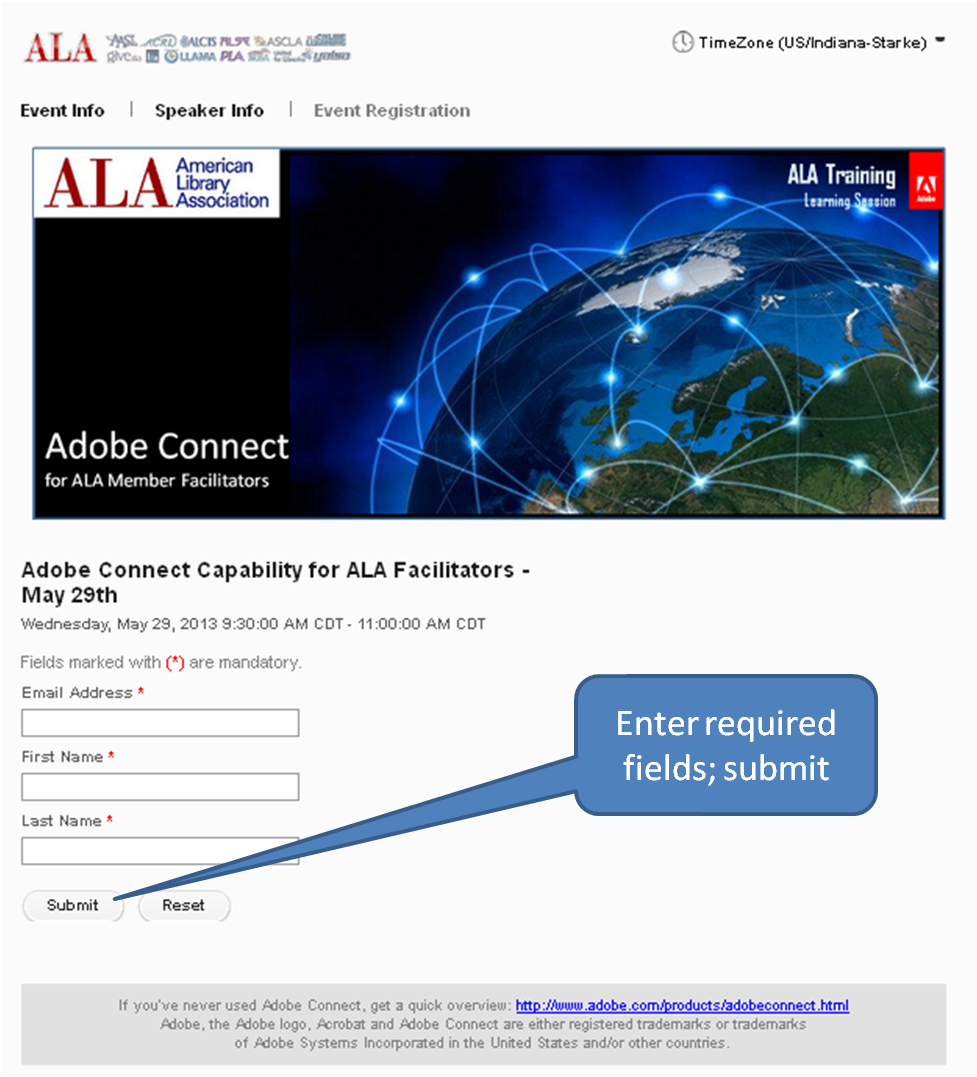 Screenshot of registration page for a sample Adobe Connect Event