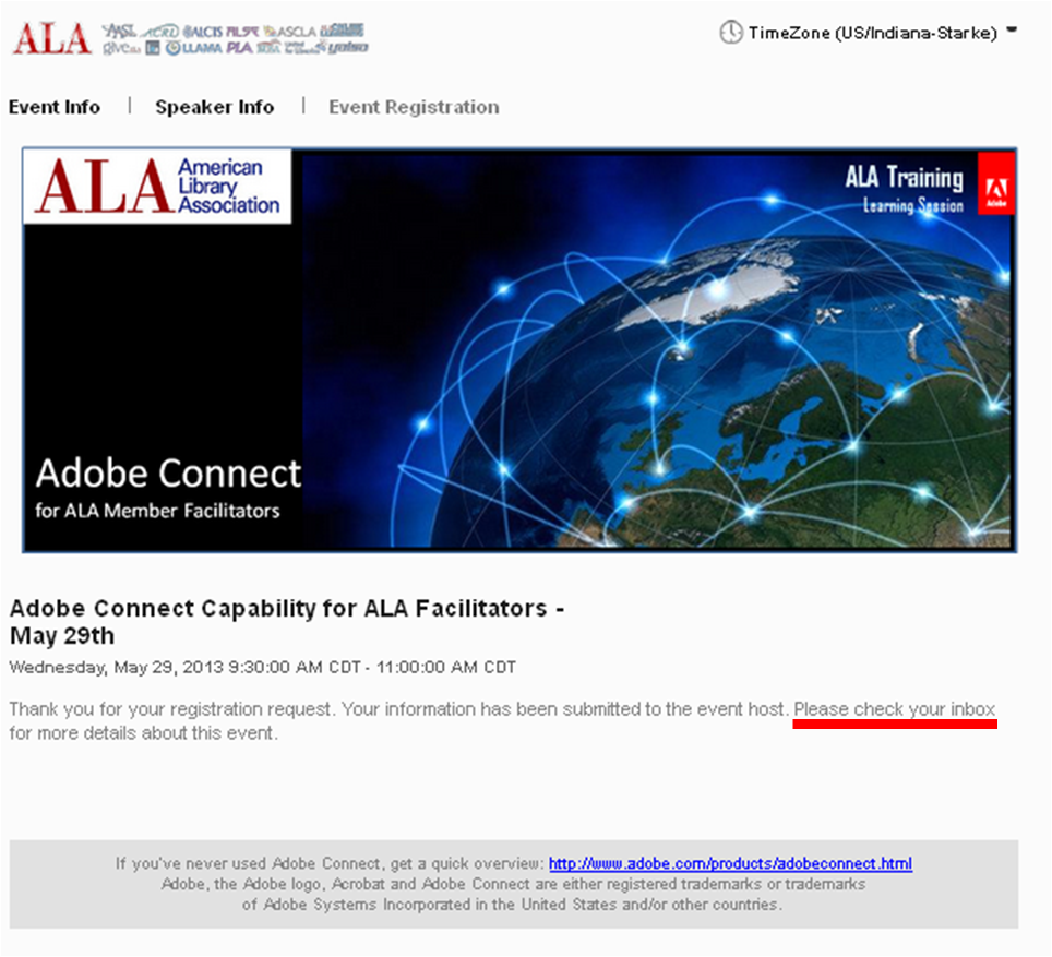 Screenshot of Event confirmation page for a sample Adobe Connect Event