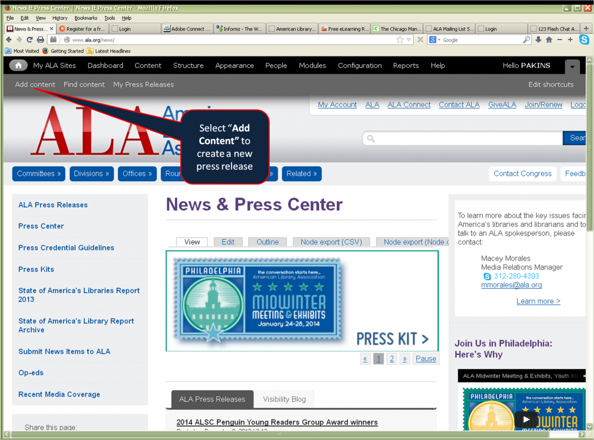 Select the Add Content button to create a new press release