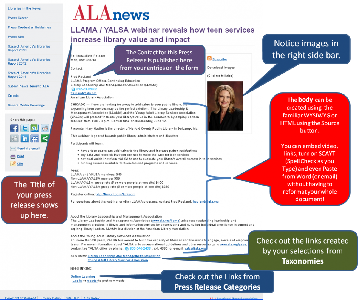 Screenshot of finished press release example highlighting Contact area (you can enter the actual contact for the release) Image area, (images are not to be added to the body, but show up on the right sidebar of the release) as well as the links generated by Taxonomies leading readers to the ALA Unit page listing all press releases for that unit as well as relevant links the press release is filed under.