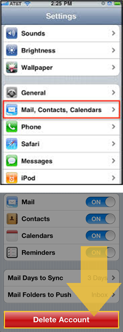 remove email account from iphone remove exchange account from phone ala support 3475