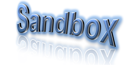 Sandbox WordArt converted to PNG and then Cropped