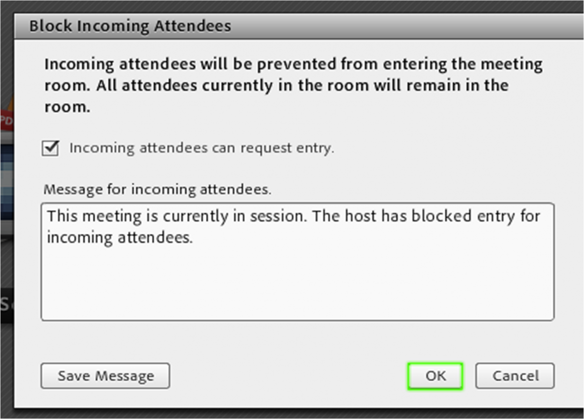 screenshot of edit window to add text explaining why access has been blocked.