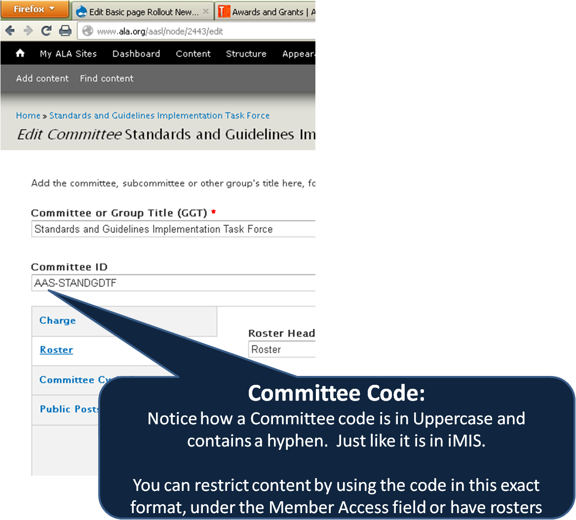 screenshot highlighting that the format of committee codes in Drupal must be in uppercase and include a dash, just like the code in iMIS