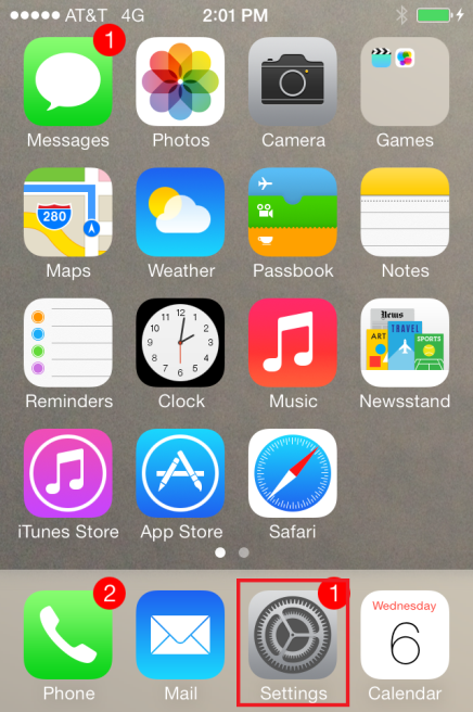 Home screen of iPhone