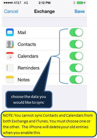 Screen shot listing Mail, Contacts, calendars, reminders and notes