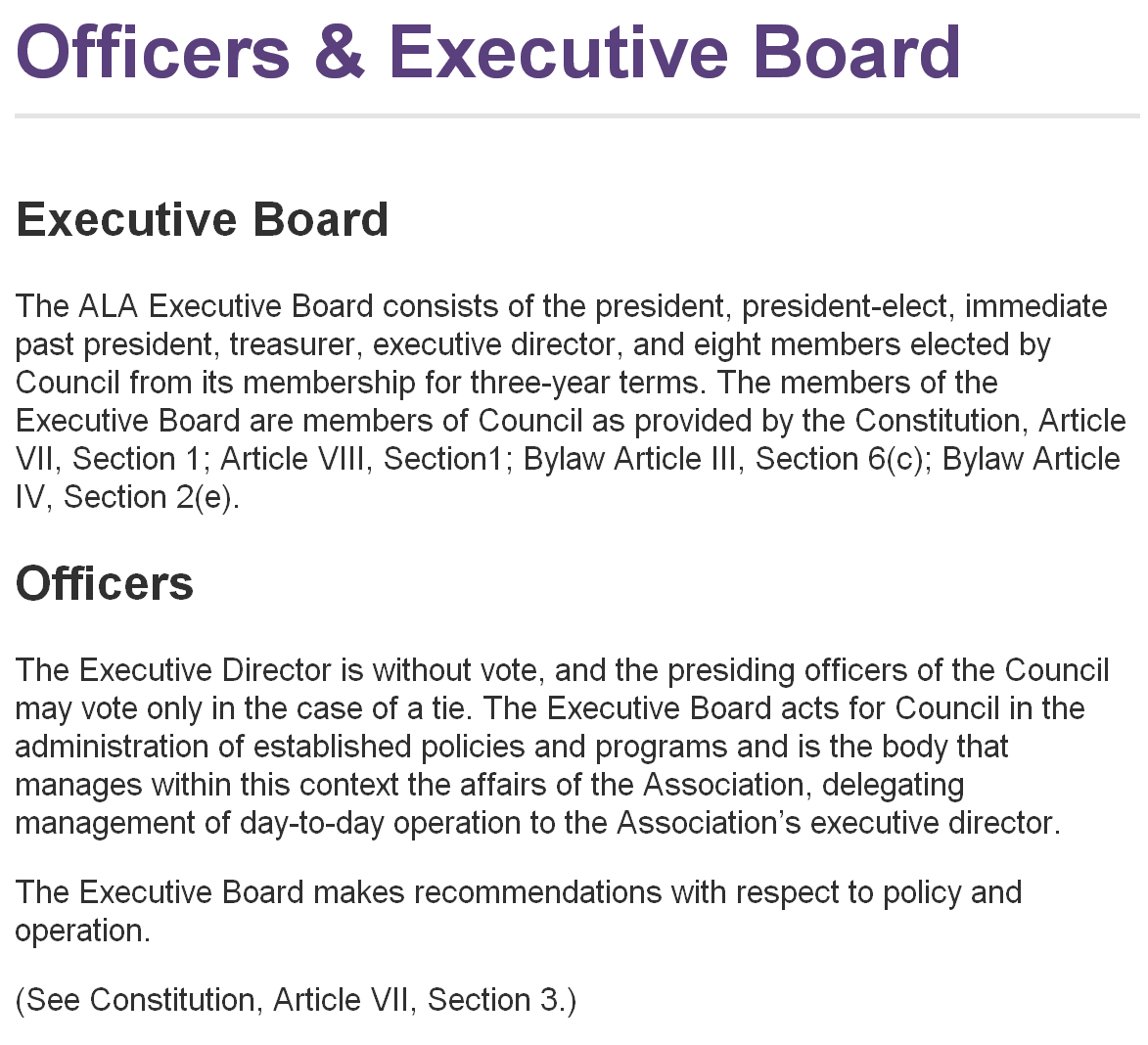 Officers and Executive Board landing page showing headings and paragraph styling.