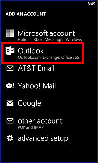 Settings screen with outlook highlighted