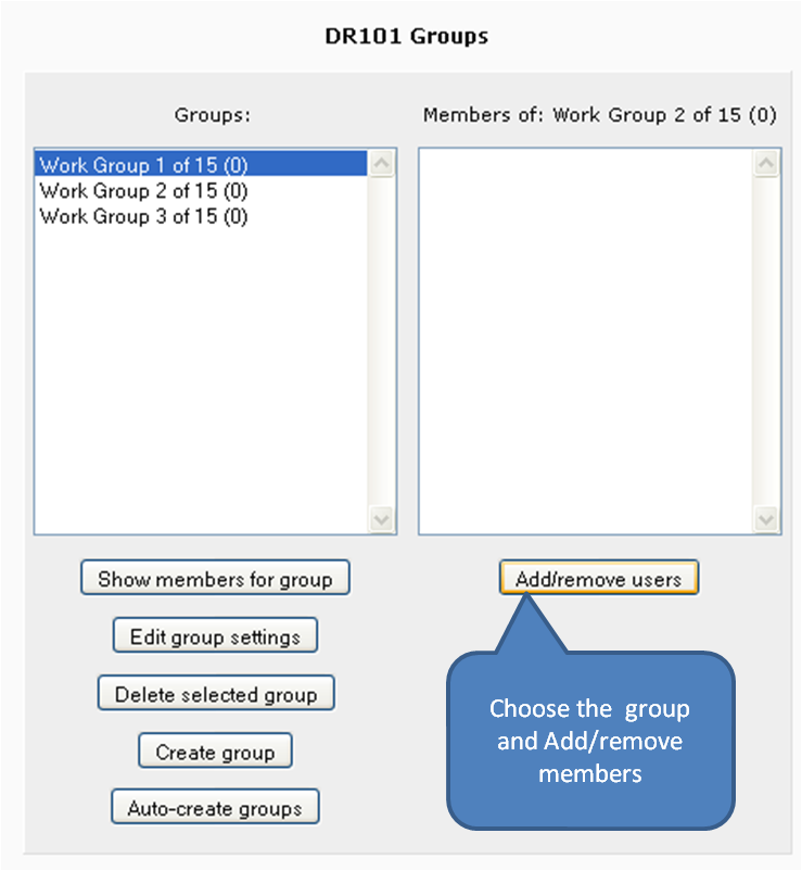 Select group and then use Add/Remove button to select from course participants