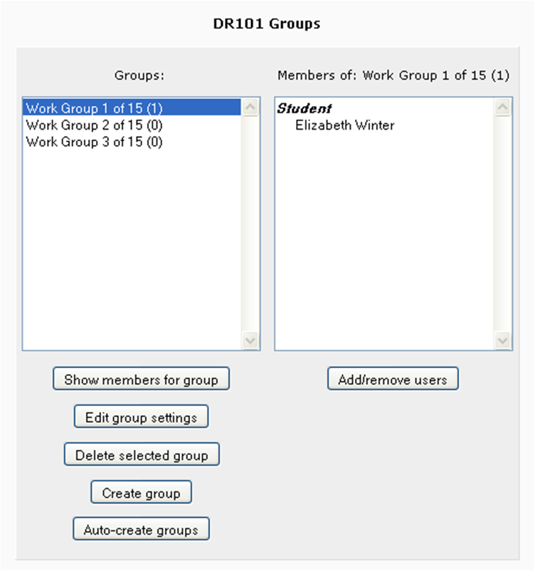 "Be sure to hit the ""show members for group button while selecting the group to see a list of group members on the right."