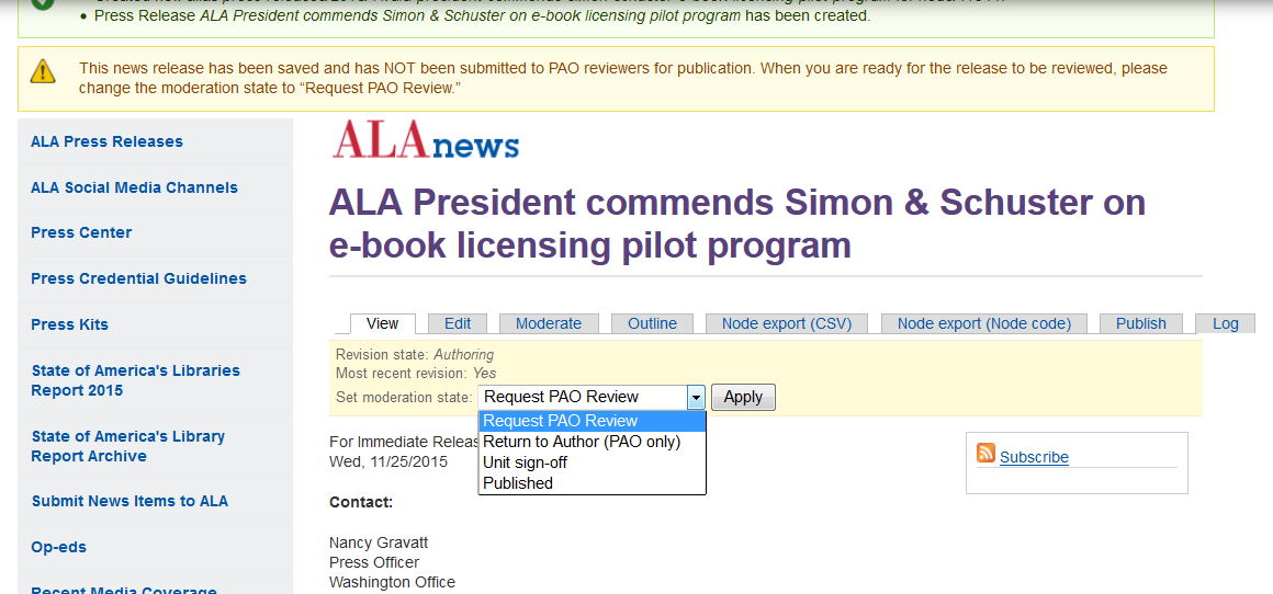 Member News and Press Releases | ALA Support