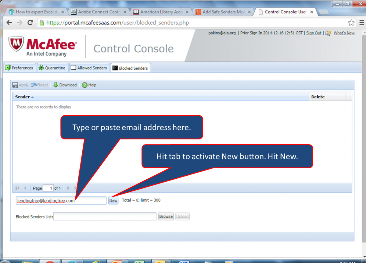 Add Safe Senders McAfee | ALA Support