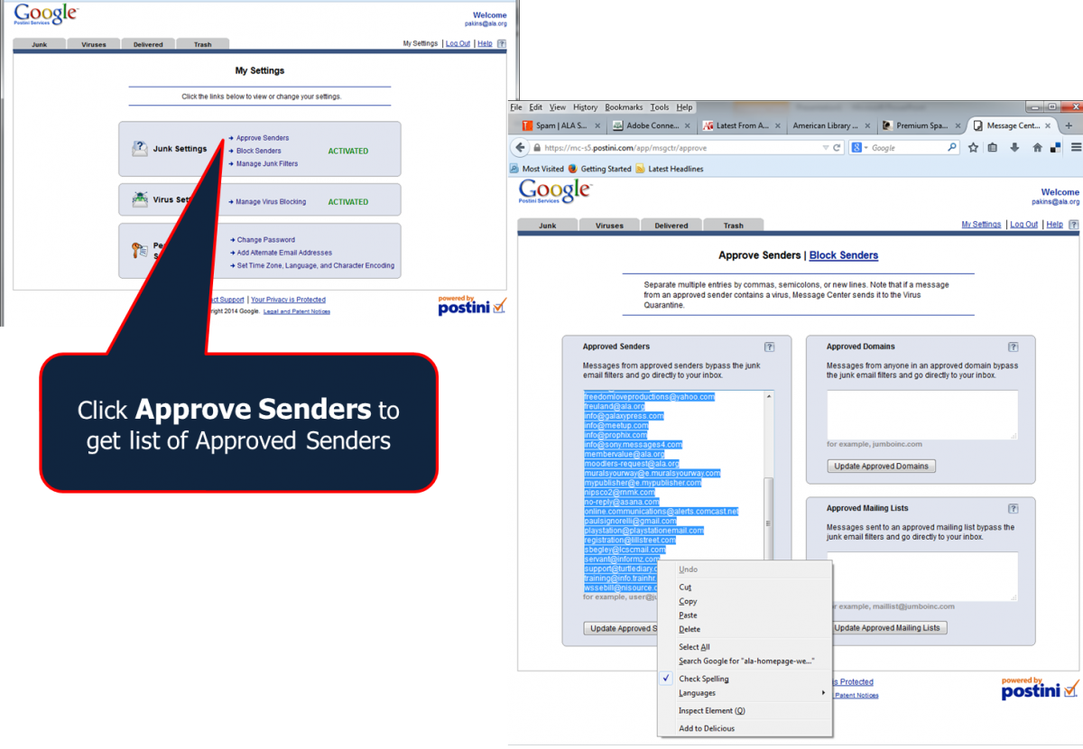 Spam- Harvest Approved Senders | ALA Support