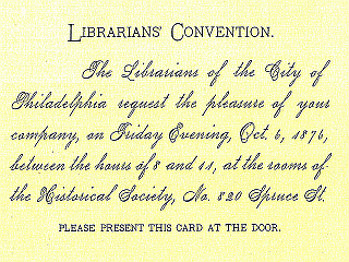 1876 Admission card to Librarians' Convention