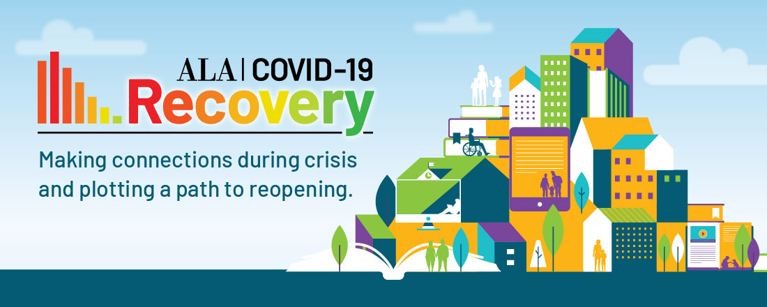 COVID-19 Recovery: Making connections during crisis and plotting a path to reopening. Illustration of city with people alone and in small groups engaging with books and other media