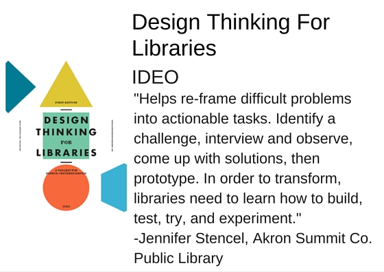 "Design Thinking For Libraries: A Toolkit for Patron-Centered Design Submission by IDEO - ""Helps re-frame difficult problems into actionable tasks. Identify a challenge, interview and observe, come up with solutions, then prototype. In order to transform, libraries need to learn how to build, test, try, and experiment."" - Jennifer Stencel, Akron Summit Co. Public Library"