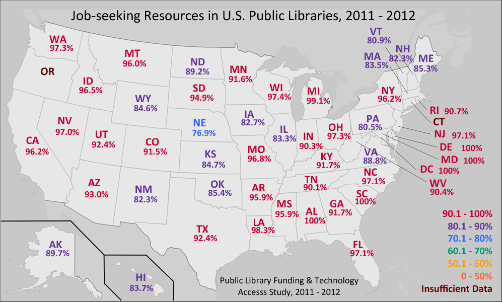 E-books map in U.S. Public Libraries from the 2012 Public Library Funding & Technology Access Study (PLFTAS)