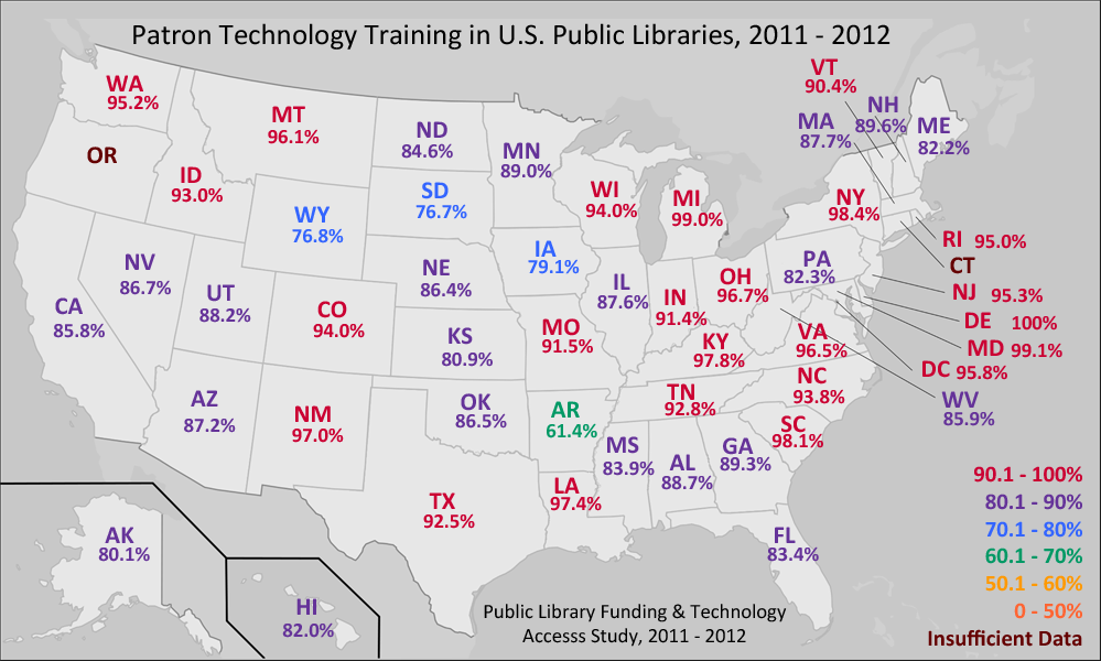 E Books Map In U S Public Libraries From The 2012 Public Library Funding Technology