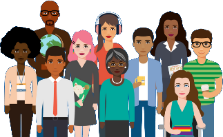 Illustration of diverse group of library workers