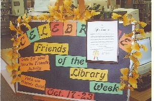 the national friends of libraries week proclamation is displayed in ennis public library.