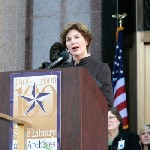 former first lady laura bush at the ceremony on the steps of the lorenzo de zavala state archives and library building (photo by peggy lee oster/texas state library and archives commission).