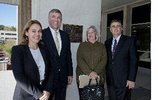 From left: Renata Vickrey, university archivist; Sherrod Skinner; Susan Bradley, and Carl Antonucci, library director