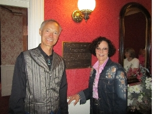 Rod Barker and Kathy L'Amour unveil the Literary Landmark plaque for Louis L'Amour.