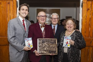 From left: Ben Kallos, member of the New York City council; Rocco Staino, director of the Empire State Center for the Book; David Williams, executive director, Carl Schurz Park Conservancy, and Liz Krueger, New York State senator, celebrate the Literary Landmark for Louise Fitzhugh.