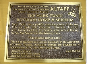 mark twain plaque